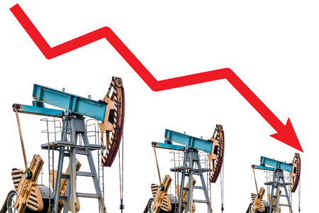 oilfield: Oil price crisis. Oil price fall graph illustration. Red arrow. Pump field background.