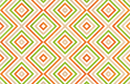 scraps: Geometrical pattern in beige, orange and green colors. For fashion textile, cloth, backgrounds.