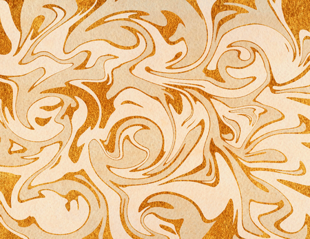 Abstract golden and beige watercolor background. Marble texture.