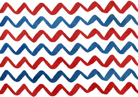 red hand: Watercolor dark blue and dark red hand painted stripes on white background, chevron.