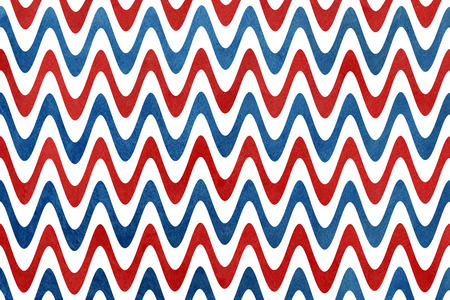 Watercolor dark blue and red stripes background, chevron. Abstract watercolor background with dark blue and red stripes on white background.