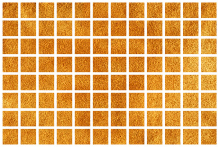 Golden painted squares on white background. Golden acryl texture. Golden shining texture. Stock Photo