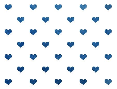 corazones azules: Acuarela corazones de color azul oscuro sobre fondo blanco patrón. Textura de la acuarela azul oscuro con el corazón.