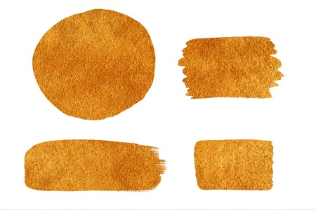 splotches: Collection of golden painted design elements isolated on white background. Golden brush strokes. Golden hand drawn splotches for graphic backdrop.