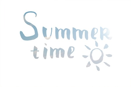 summertime: Summer time hand drawn lettering. Hand drawn phrase Summer time. Inscription for summer card, banner, poster, party invitation or t-shirt design.