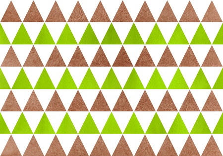 Watercolor lime green and brown triangle pattern. Geometric abstract texture. Stock Photo