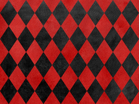 black diamond: Vintage watercolor red and black diamond pattern. Geometrical traditional ornament for fashion textile, cloth, backgrounds.