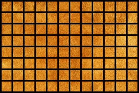 acryl: Golden painted squares on black background. Golden acryl texture. Golden shining texture. Stock Photo