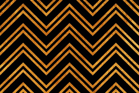 Golden painted stripes background, chevron. Abstract pattern with golden stripes on black background. Golden shining texture. Gold paint on black. Stock Photo