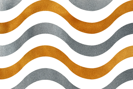 Golden and silver wavy striped background. Wavy striped pattern.
