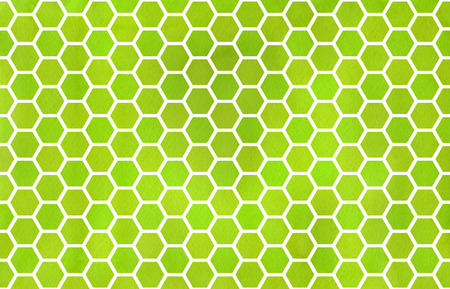 lime green: Watercolor lime green geometrical comb pattern. Hexagonal grid design.