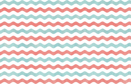 striped background: Abstract watercolor coral pink and blue wavy striped pattern.