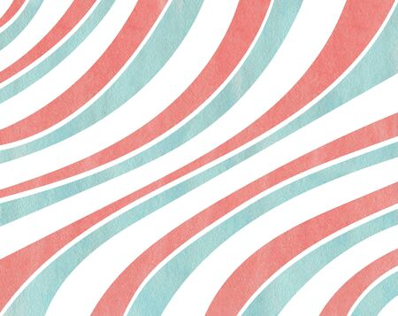 curved line: Watercolor coral pink and blue striped background. Curved line pattern.