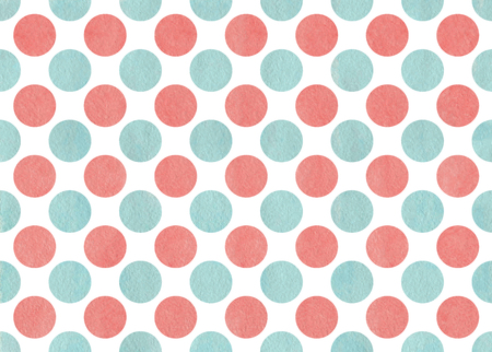 polkadot: Watercolor coral pink and blue polka dot background. Pattern with colorful polka dots for scrapbooks, wedding, party or baby shower invitations. Stock Photo