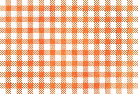 checked: Classic checked orange watercolor texture. Watercolor orange checked background. Stock Photo