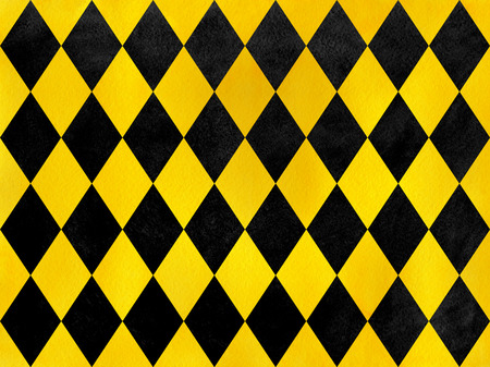 Vintage watercolor yellow and black diamond pattern. Geometrical traditional ornament for fashion textile, cloth, backgrounds.