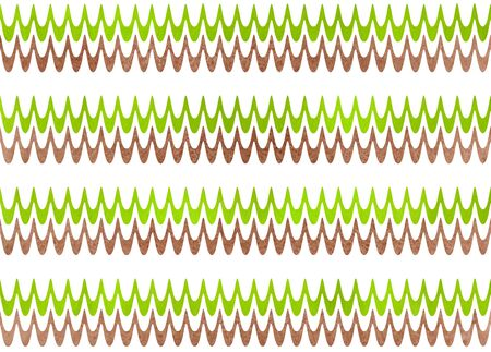 Abstract watercolor brown and lime green wavy striped pattern.