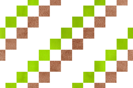 lime green: Watercolor brown and lime green square pattern. Geometrical traditional ornament for fashion textile, cloth, backgrounds. Stock Photo