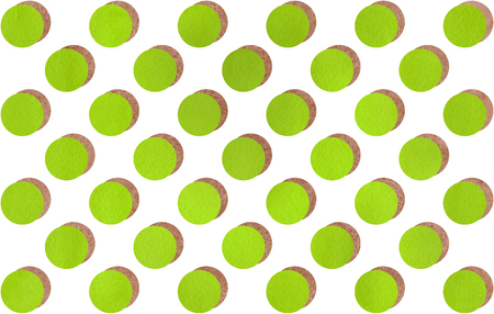 lime green: Watercolor brown and lime green polka dot with offset shadow background. Pattern with colorful polka dots for scrapbooks, wedding, party or baby shower invitations.