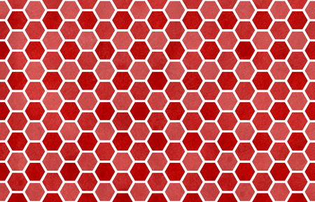 dark red: Watercolor dark red geometrical comb pattern. Hexagonal grid design. Stock Photo