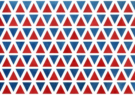 dark red: Watercolor dark blue and dark red triangle pattern. Geometric abstract texture. Stock Photo