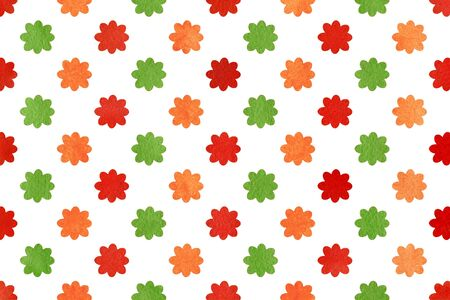 scraps: Watercolor orange, red and green flowers. Watercolor flowers background. Watercolor texture. Watercolor geometric pattern. Stock Photo