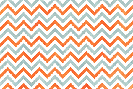 Watercolor orange and blue stripes background, chevron. Abstract watercolor background with orange and blue stripes on white background.