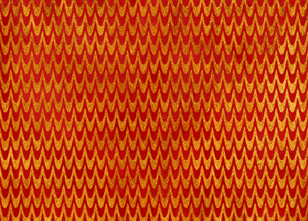 acryl: Abstract watercolor red and acryl golden wavy striped pattern.