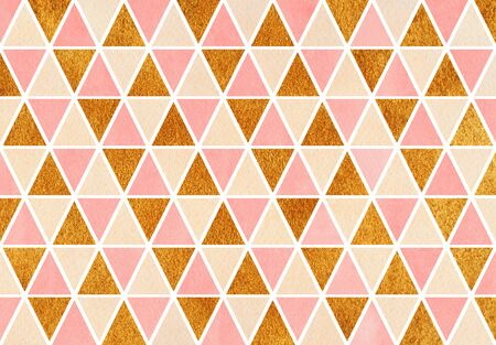Watercolor pink, beige and golden triangle pattern. Geometric abstract texture. Stock Photo