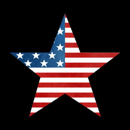 big star: The American flag print as star shaped symbol. Big Star American Flag on black background.