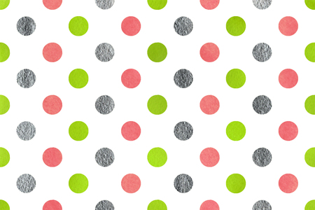 geen: Watercolor lime geen, pink and acryl silver polka dot background. Pattern with polka dots for scrapbooks, wedding, party or baby shower invitations.