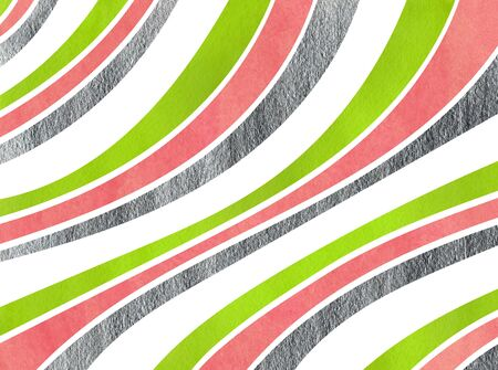 curved line: Watercolor lime geen, pink and acryl silver striped background. Curved line pattern.