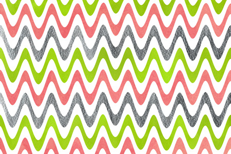 geen: Watercolor lime geen, pink and acryl silver stripes background, chevron.