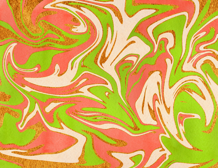 Abstract watercolor lime green, salmon pink, beige and golden background. Marble texture.