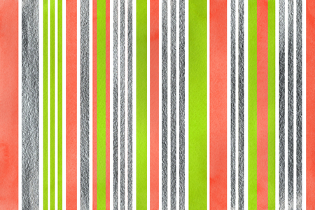 geen: Watercolor lime geen, salmon pink and acryl silver striped background.