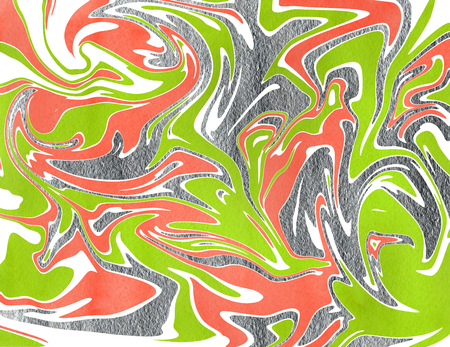geen: Abstract acryl silver and lime geen, salmon pink watercolor background. Marble texture.