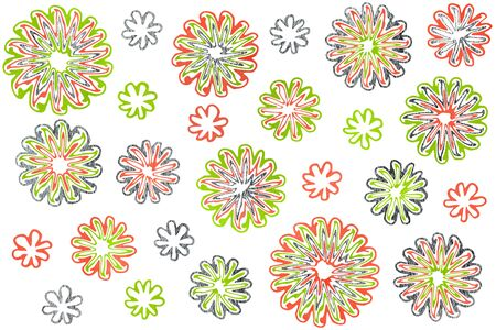 geen: Watercolor lime geen, salmon pink and acryl silver abstract flowers on white background.