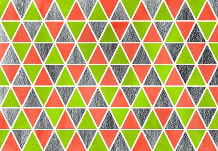 geen: Watercolor lime geen, salmon pink and silver triangle pattern.