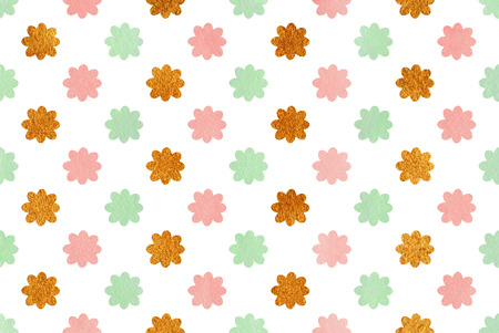 acryl: Watercolor pink, mint green and acryl golden flowers pattern. Stock Photo