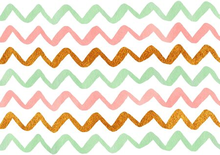 colorful stripes: Watercolor pink, mint green and acryl golden hand painted stripes pattern, chevron. Stock Photo