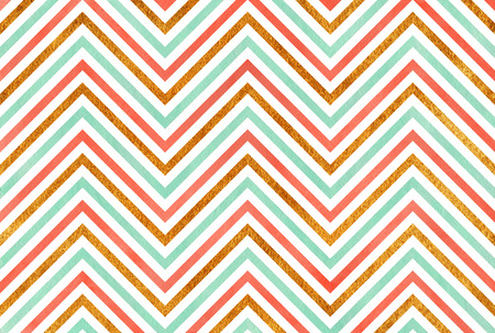 Watercolor seafoam blue, salmon pink and acryl golden stripes background, chevron. Stock Photo