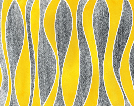 curved line: Watercolor yellow and acryl silver striped background. Curved line pattern.
