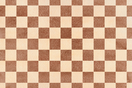 geometrical pattern: Watercolor brown and beige square pattern. Geometrical traditional ornament for fashion textile, cloth, backgrounds.