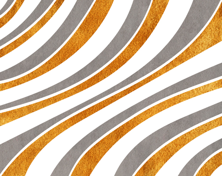 curved line: Watercolor gray and acryl golden striped background. Curved line pattern. Stock Photo