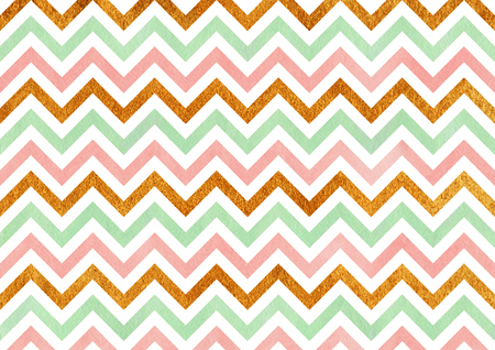 scrap gold: Watercolor pink, mint green and acryl golden stripes background, chevron.