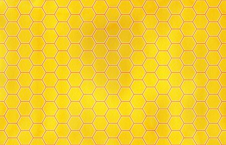 honey comb: Watercolor orange and yellow geometrical honey comb pattern.