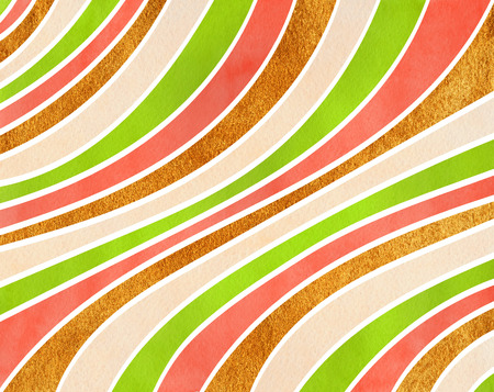 Watercolor lime green, salmon pink, beige and acryl golden striped background. Curved line pattern. Stock Photo