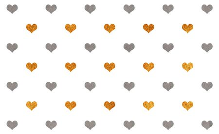 acryl: Watercolor gray and acryl golden hearts on white background pattern. Stock Photo