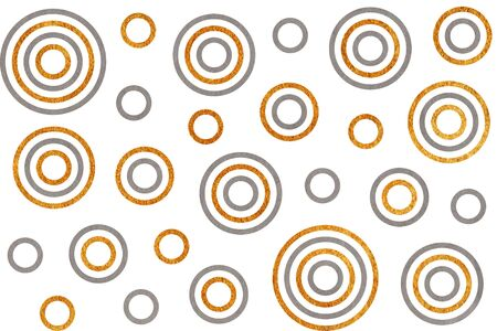 acryl: Watercolor gray and acryl golden circles on white background.