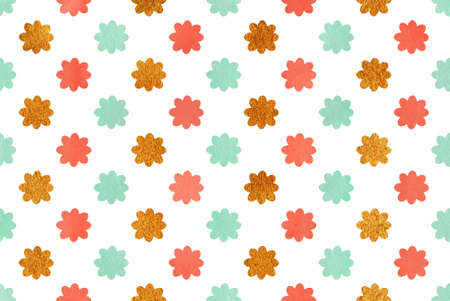 acryl: Watercolor seafoam blue, salmon pink and acryl golden flowers pattern. Stock Photo